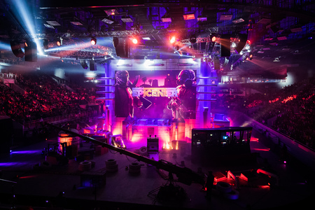 SAINT PETERSBURG, RUSSIA - OCTOBER 28 2017: EPICENTER Counter Strike: Global Offensive cyber sport event. Main venue and the screen with events logo