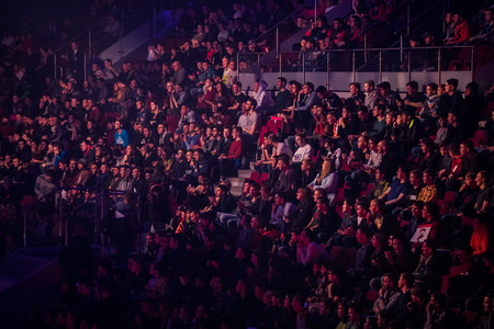 SAINT PETERSBURG, RUSSIA - OCTOBER 28 2017: EPICENTER Counter Strike: Global Offensive cyber sport event. People at the arena