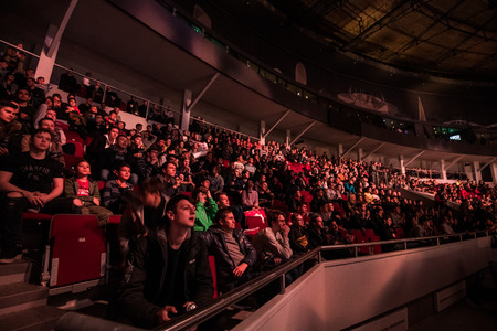 SAINT PETERSBURG, RUSSIA - OCTOBER 28 2017: EPICENTER Counter Strike: Global Offensive cyber sport event. Tribune full of young video games fans