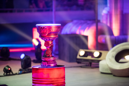 SAINT PETERSBURG, RUSSIA - OCTOBER 28 2017: EPICENTER Counter Strike: Global Offensive cyber sport event. Main trophy cup of the tournament Editorial
