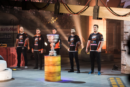 SAINT PETERSBURG, RUSSIA - OCTOBER 28 2017: EPICENTER Counter Strike: Global Offensive cyber sport event. Virtus.Pro team on a stage: TAZ, Neo, byali, pashabiceps, snax Redactioneel