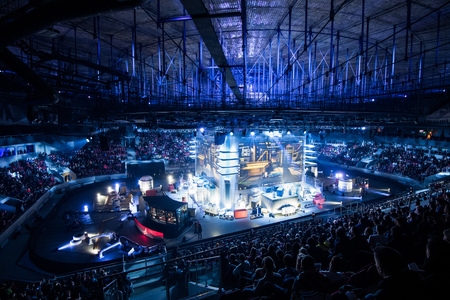 SAINT PETERSBURG, RUSSIA - OCTOBER 28 2017: EPICENTER Counter Strike: Global Offensive cyber sport event. Main venue and the big screens at the center of the stage