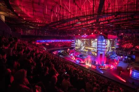 SAINT PETERSBURG, RUSSIA - OCTOBER 28 2017: EPICENTER Counter Strike: Global Offensive cyber sport event. Main venue and the big screens at the center of the stage full of fans