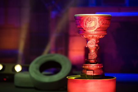SAINT PETERSBURG, RUSSIA - OCTOBER 29 2017: EPICENTER Counter Strike: Global Offensive cyber sport event. Main trophy of the tournament for winners. Video games cup