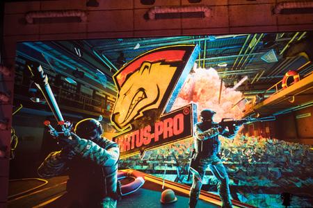SAINT PETERSBURG, RUSSIA - OCTOBER 29 2017: EPICENTER Counter Strike: Global Offensive cyber sport event. Team virtus.pro logo on a main screen.
