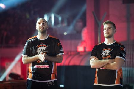 SAINT PETERSBURG, RUSSIA - OCTOBER 29 2017: EPICENTER Counter Strike: Global Offensive cyber sport event. Taz and Neo from virtus.pro on a main stage.