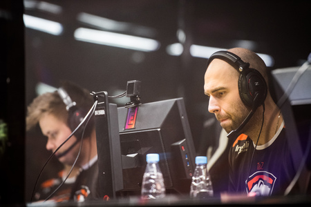SAINT PETERSBURG, RUSSIA - OCTOBER 29 2017: EPICENTER Counter Strike: Global Offensive cyber sport event. Team Virtus.pro professional gamer at players cabin during grand final match of the tournament looking concentrated on a screen. Editorial