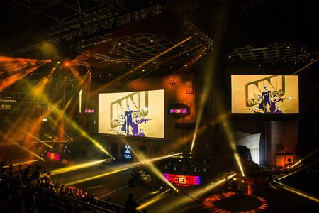MOSCOW, RUSSIA - OCTOBER 27 2018: EPICENTER Counter Strike: Global Offensive esports event. Natus Vincere NaVi team on a main screen. Editoriali