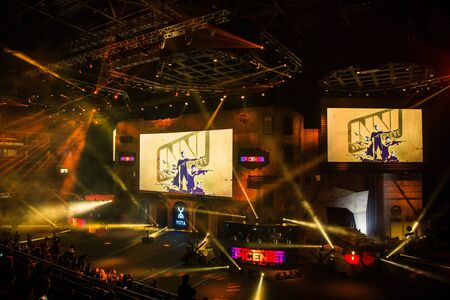 MOSCOW, RUSSIA - OCTOBER 27 2018: EPICENTER Counter Strike: Global Offensive esports event. Natus Vincere NaVi team on a main screen.