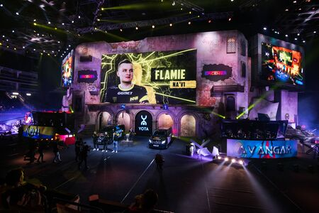 MOSCOW, RUSSIA - OCTOBER 27 2018: EPICENTER Counter Strike: Global Offensive esports event. Player Egor flamie Vasilyev on a main screen. Introduction of a team NaVi Natus Vincere before the match.