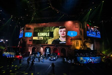 MOSCOW, RUSSIA - OCTOBER 27 2018: EPICENTER Counter Strike: Global Offensive esports event. Player Oleksandr s1mple Kostyliev on a main screen. Introduction of a team NaVi Natus Vincere before the match. Editoriali