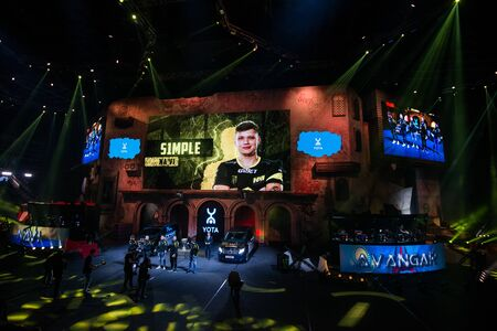 MOSCOW, RUSSIA - OCTOBER 27 2018: EPICENTER Counter Strike: Global Offensive esports event. Player Oleksandr s1mple Kostyliev on a main screen. Introduction of a team NaVi Natus Vincere before the match.