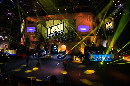 MOSCOW, RUSSIA - OCTOBER 27 2018: EPICENTER Counter Strike: Global Offensive esports event. Team NaVi Natus Vincere on a main screen. Introduction of a teams before the match.