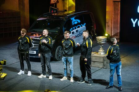 MOSCOW, RUSSIA - OCTOBER 27 2018: EPICENTER Counter Strike: Global Offensive esports event. Introduction of a team NaVi Natus Vincere. Players electronic, Zeus, s1mple, flamie, Edward on a main stage.