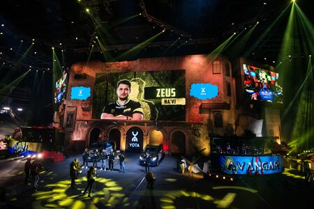 MOSCOW, RUSSIA - OCTOBER 27 2018: EPICENTER Counter Strike: Global Offensive esports event. Player Danylo Zeus Teslenko on stage and on a main screen. Introduction of a team NaVi Natus Vincere before the match. Editoriali