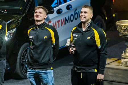 MOSCOW, RUSSIA - OCTOBER 27 2018: EPICENTER Counter Strike: Global Offensive esports event. Introduction of a team NaVi Natus Vincere. Players Zeus and s1mple.