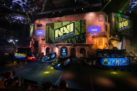 MOSCOW, RUSSIA - OCTOBER 27 2018: EPICENTER Counter Strike: Global Offensive esports event. Team NaVi Natus Vincere on a main screen. Introduction of a teams before the match. Editoriali