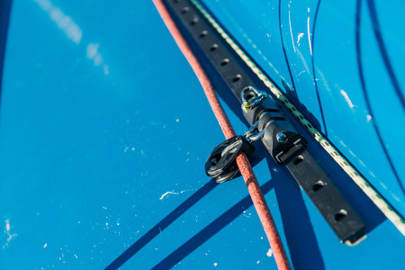 Sailing yacht rigging equipment: Jib Genoa block closeup Stock Photo