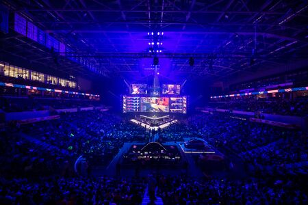 MOSCOW, RUSSIA - 14th SEPTEMBER 2019: esports Counter-Strike: Global Offensive event. Main stage venue, big screen and lights before the start of the tournament.
