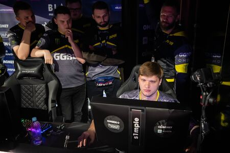 MOSCOW, RUSSIA - 14th SEPTEMBER 2019: esports Counter-Strike: Global Offensive event. Team NaVi Natus Vincere players discuss upcoming game during tournament.