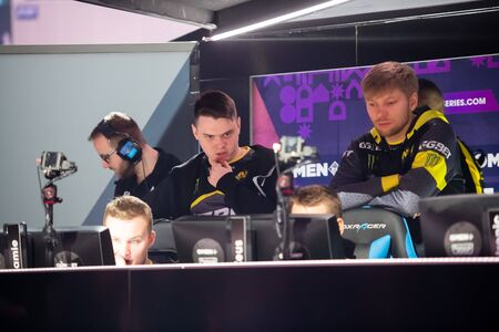 MOSCOW, RUSSIA - 14th SEPTEMBER 2019: esports Counter-Strike: Global Offensive event. Team NaVi Natus Vincere players discuss upcoming game during tournament. Editoriali
