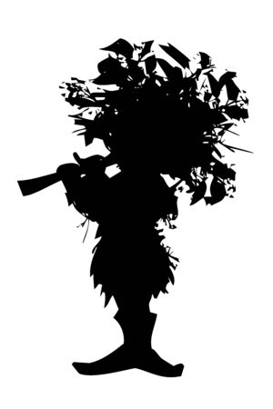 forest elf - silhouette of fairy-tale character with whistle, illustration isolated on white background