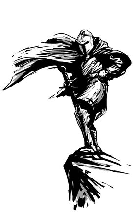 fantasy knight with sword and fluttering cloak in wind standing on rock, vector black illustration on white background