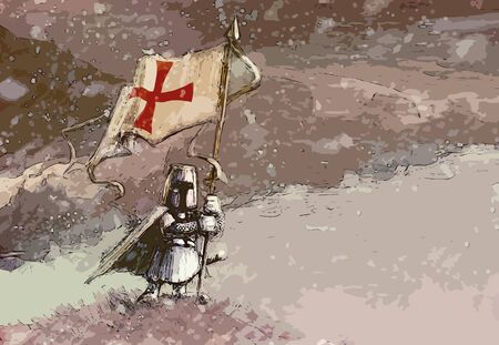 Templar - White Knight Standing On Hill And Holding Banner With Templar Cross, Cloudy Sky And Snowing - Cartoon Funny Illustration