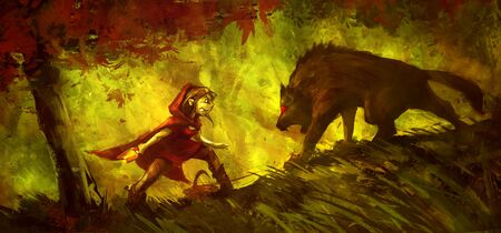 Little Red Riding Hood in the forest, funny color painting Banco de Imagens
