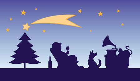 christmas cartoon illustration - man with glass of wine in chair listens to music from a phonograph, near cat and dog, tree, stars in background  individual objects on separate layers