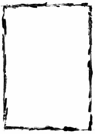 Black grunge rectangular frame on white background - graphic element