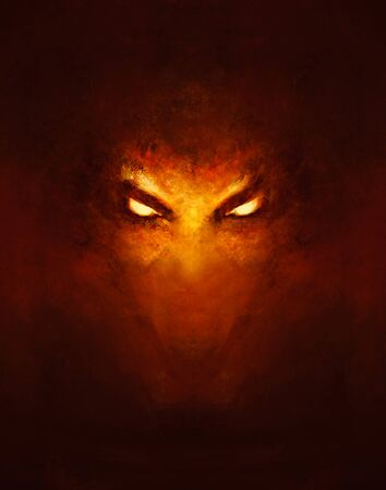 the face of a demon with glowing eyes, in the dark - a painting Banque d'images