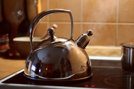 classic metal teapot, on the stovepot in the kitchen, boiling water