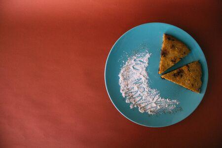 Homemade Chocolate Chip Banana Bread Cut in triangle