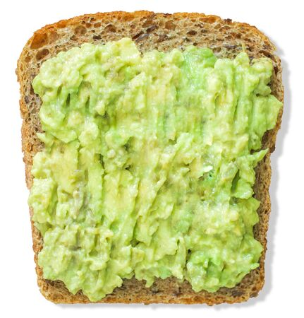 Avocado toast isolated on white background. Healthy breakfast.