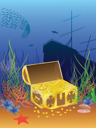 illustration of the coffer at the bottom of the sea Stok Fotoğraf - 10172804