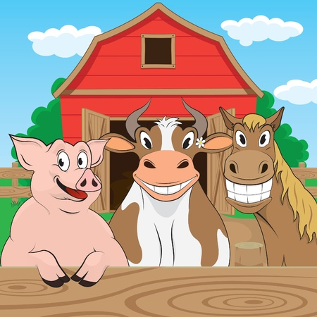 Vector illustration of pigs cows and horses Çizim
