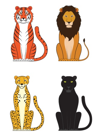 Vector illustration of a tiger lion cheetah and panther Illustration