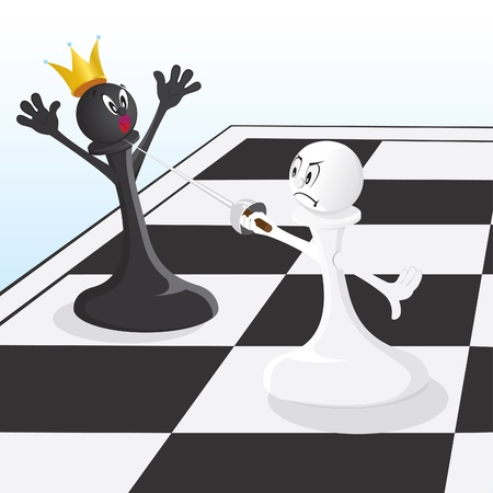 Mate: Vector illustration pawn threatening King Illustration