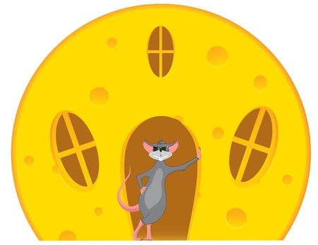 house mouse: Mouse is near a house made of cheese Illustration