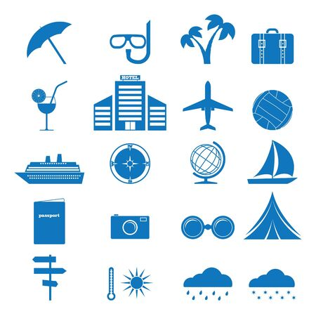 hospedaje: Ilustración vectorial de iconos sobre el tema del turismo Vectores