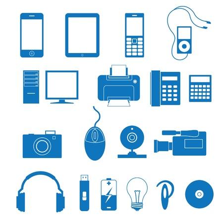 musica electronica: Ilustraci�n vectorial de los iconos de la electr�nica