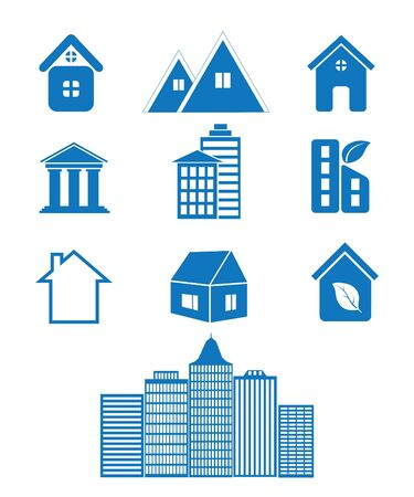 multi storey: Vector illustration of icons of homes Illustration