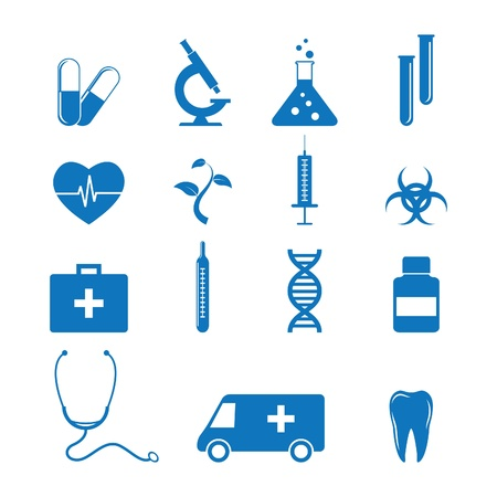 stethoscopes: Vector illustration of icons on medicine