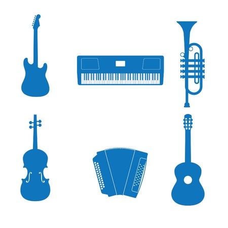 Vector illustratie van de pictogrammen muziek instrument