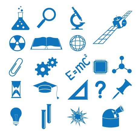 Vector illustratie van de pictogrammen om onderwerpen van de wetenschap