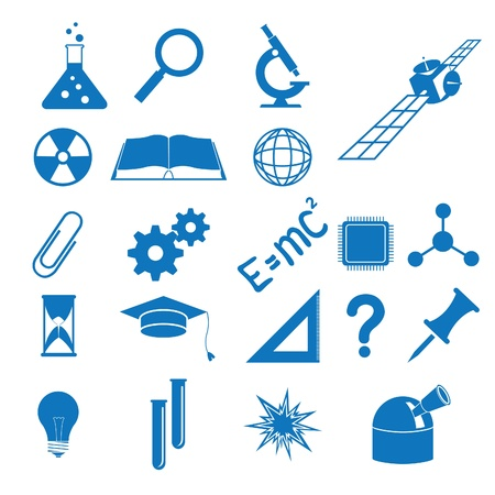 Vector illustration of the icons to subjects of the science Çizim
