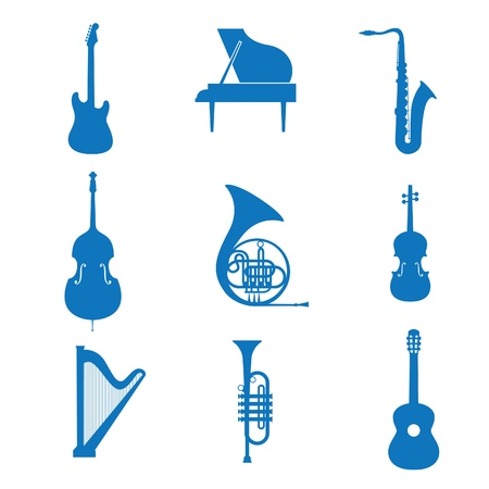 arpa: Ilustración vectorial del instrumento de música de iconos Vectores