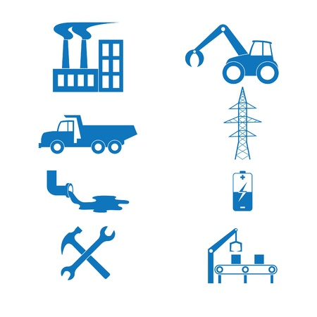 Vector illustration of the icons to industry Çizim