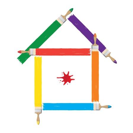 roof line: Ilustraci�n vectorial de casas pintadas de colores